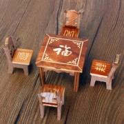 Dollhouse Miniature Furniture Wooden Mini Dining Room Table & 4 Chairs Set Toy