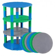 """Strictly Briks Premium Blue, Gray, and Green 8"""" Circle Stackable Base Plates - 6 Pack Baseplate Bundle with 50 New and Improved 2x2 Stackers - Tower Construction - Compatible with All Major Brands"""