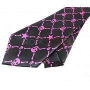 Krawat czarno różowy - KOŚCI I CZASZKI (K-23)