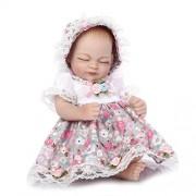 Nicery Renacer Bebé la Muñeca Simulación Silicona Vinilo duro 10 pulgadas 26cm Natural Niña Niño Impermeable Bañarse Juguete Flower Girl Eyes Close