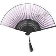 Chinese Japanese Plum Blossom Hollow Hand Fan Two Section Folding Fan Black