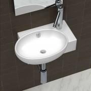 vidaXL Pia de cerâmica com torneira transbordo + orifício, branca