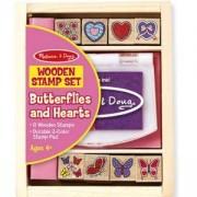 Комплект дървени печати със сърчица и пеперудки - 12415 - Melissa and Doug, 000772124157