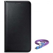 Lava A89 Flip cover (BLACK) With Micro Smiley Light Cable-Color May Vary