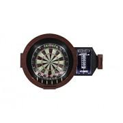 Triumph Sports USA Omega LED Bristle Dartboard in Round Wood Cabinet