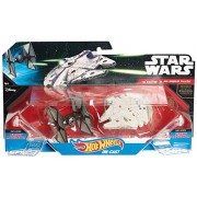 Hot Wheels - Figura de acción Tie Fighter v. Millennium Falcon, tema Star Wars