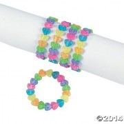 Fun Express Plastic Beaded Rainbow Heart Bracelets - Easter & Novelty Jewelry Set (1 Dozen)
