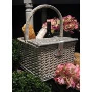 Picknickkorb mit Stoffeinsatz aus Rattan 21x29cm
