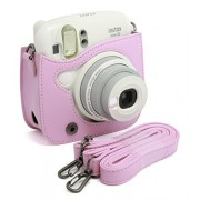 CAIUL PU Leather Instant Camera Case For Fujifilm Instax Mini 25 Instant Camera,Pink