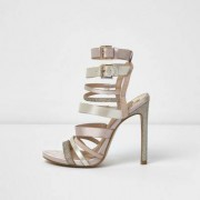 River Island Womens Light Pink multi strap sandals
