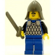 LEGO Castle Minifig Scale Mail Blue Blue Legs with Black Hips Dark Gray Neck-Protector