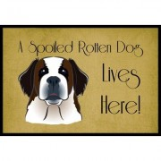 Caroline's Treasures Saint Bernard Spoiled Dog Lives Here Mat BB1494JMAT / BB1494MAT