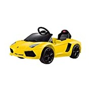 Flying Gadgets Radio Controlled (RC) Lamborghini Aventador LP700-4 Ride On Children's Car with Remote Control for Adult Override - Yellow