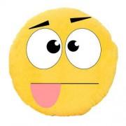 Soft Smiley Emoticon Yellow Round Cushion Pillow Stuffed Plush Toy Doll (Craziness)