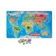 JANOD 05500 Harta magnetică a lumii MAGNETIC WORLD PUZZLE 92 state magnetice de la 5-12 ani
