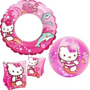 "Intex ""Hello Kids Kitty"" accessories Swimming Set - Set Includes: Swim Ring (Tube), Pair of Deluxe Arm Bands Tube and Beach Ball - For Kids Ages 3-6"