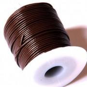 Cordon cuero marron chocolate 2mm (precio por 50 cm )
