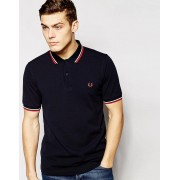 Fred Perry Slim Fit Twin Tipped Polo Shirt - Navy (Sizes: L, S, XL, XS, M)