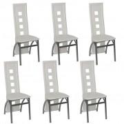 vidaXL 6 Cadeiras de jantar brancas em aço