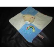 Doudou Plat Carré Blanc Bleu Ours Arc En Ciel Baby Boy Keel Toys Ltd
