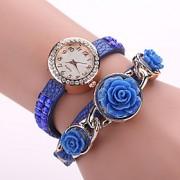 Mulheres Relógio de Moda Quartz Relógio Casual PU Banda Flor Preta / Branco / Azul / Vermelho / Rosa / Amarelo marca-