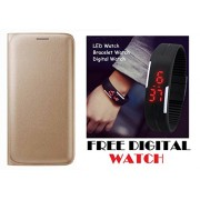 Oppo A37 Flip Cover Case With Free Unisex LED Digital Watch By Vinnx - Golden