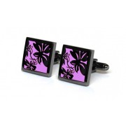 Tyler & Tyler Vine Black Metal Cufflinks Purple