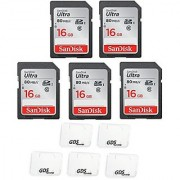 5x Genuine SanDisk Ultra 16GB Class 10 SDHC Flash Memory Card Up To 80MB/s Memory Card (SDSDUNC-016G-GN6IN) with slim memory card case (5pcs)