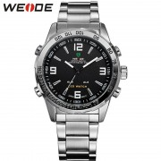 WEIDE Luxury Dual Display Wristwatches LED Display Men's Sports Japan Quartz Wrist Military Watch,WH1009, Relogio