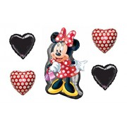 Disney Bouquet of Minnie Mouse Full Body Shape 32 Mylar Foil Balloon 2 Polka Dot and 2 Black Hearts