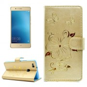 For Huawei P9 Lite Bronzing Butterfly Pattern Horizontal Flip PU Leather Case with Holder & Card Slots & Wallet(Gold)