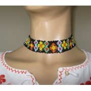 Romanian Peasant Beaded Choker Necklace from Transylvania