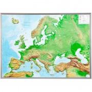 Georelief Harta magnetica Europa mare, 3D Harta fizică cu rama de aluminiu
