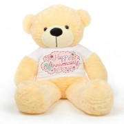 Peach 5 feet Big Teddy Bear wearing a Happy Anniversary T-shirt