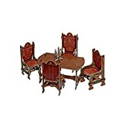 Keranova Keranova259-01 Brown Clever Paper Doll House Dining Room Furniture Collection 3D Puzzle (26-Piece)