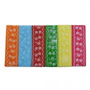 AsianHobbyCrafts Net Fabric Ribbons Printed Multi-Colored used for Scrapbooking, Hobbycrafts, Gift-wrapping etc. Width: 1 Inch; Qty: 6 colors per pack Length: 2 Mtrs per Color (Flower)