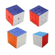 Vortex Toys High Speed Stickerless Magic Rubik Cube Combo Set Of 4 (2x2 , 3x3, 4x4, 5x5) Puzzle Brainstorming Game Toy