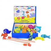Moombike Colorful Wooden Magnetic Fishing Toy Game with 12 Fishes and 2 Poles Catch a Fish Toy Competiton Game
