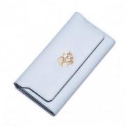 NUCELLE Długi skórzany damski portfel Jasnoniebieski