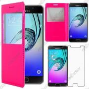 Ebeststar ® Pour Samsung Galaxy A5 2016 A510f - Housse Coque Etui Style View Portefeuille + 1 Verre Trempé, Couleur Rose