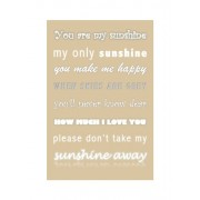 "Feel Good Art - Tela A4 in canvas ""You are My Sunshine"", per la cameretta del bambino, colore: Beige"