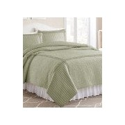 3-Piece Solid Quilt Set Frame Ruffled