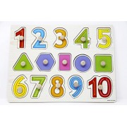 Fusine™ Wooden Numbers, Signs & Shapes Tray with Picture with Knobs, Multi Color (Numbers, Shape)