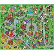 Large Cityscape Play Mat with Train Tracks Buildings and Roads for Cars Trucks and Trains