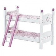18 Inch Doll Stackable Bunk Bed Hand-Painted - 2 Sets Of Quilted Bedding Mattress And Ladder - Beds Fit 18