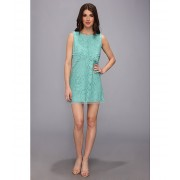 BCBGMAXAZRIA Amelie Sleeveless Lace Drape Dress Light Aqua