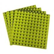 "Strictly Briks Premium Light Green 7.5"" X 7.5"" Large Size Pegs Construction Base Plates 4 Pack Bundle (Lego Duplo Compatible)"