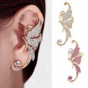 Cercel tip ear cuff, pe toata urechea, fluture auriu cu cristale