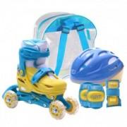 Set role reglabile pentru copii cu pozitionarea multipla a rotilor - Albastre