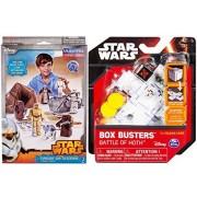 Star Wars Blueprints & Box Busters Battle of Hoth Mini Spaceship Set + Paper Figures Droids on Tatooine Desert Bundle R2-D2